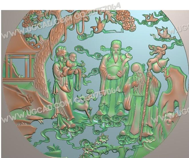 福禄寿喜精雕图木雕刻图
