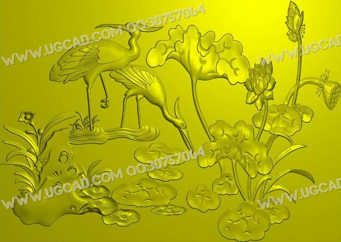 荷花浮雕图