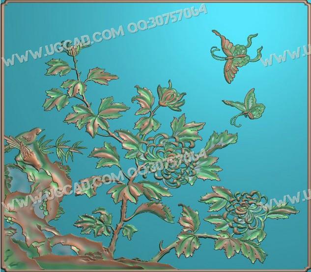 梅兰竹菊浮雕图