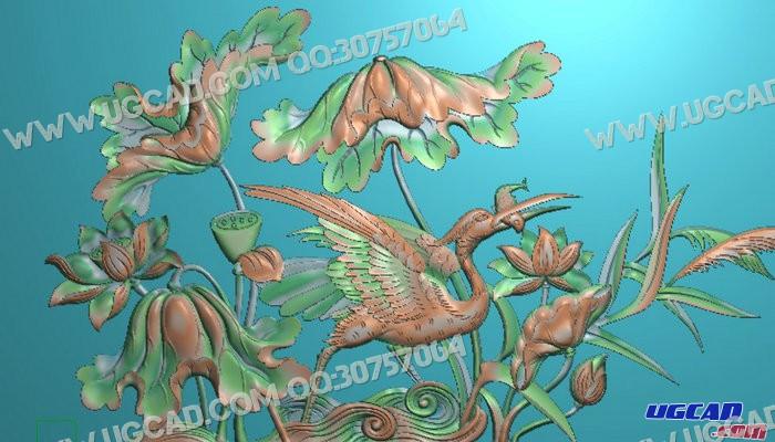 仙鹤浮雕图案